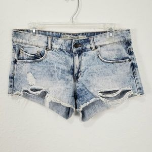 Zara | Bleached Distressed Denim Shorts